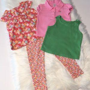 Lot of 3 Gymboree shirts floral leggings Size 4